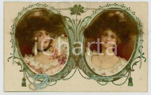1920 ca REAL HAIR old postcard - Portrait of two women - Embossed FP NV