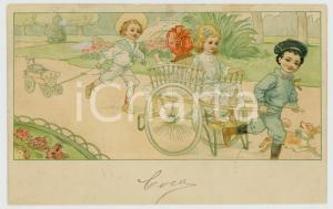 1910 ca CHILDREN Kids playing with gig and puppets ILLUSTRATED Postcard FP VG