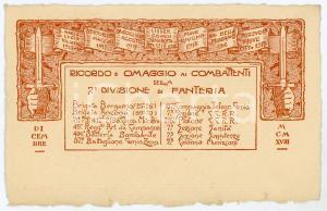 1918 WW1 - 7° Divisione di Fanteria - Omaggio ai combattenti *Cartolina FP NV