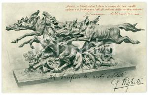1915 MILANO Scultura di Guido RIGHETTI a Comitato raccolta fondi WW1 Cartolina