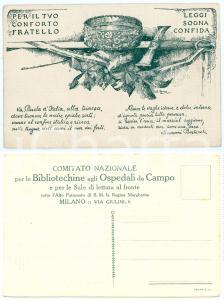 1915 ca WW1 - MILANO Comitato Bibliotechine agli ospedali da campo - Cartolina