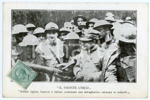 1919 WW1 FRONTE UNICO Soldati inglesi, francesi e italiani con mitragliatrice FP