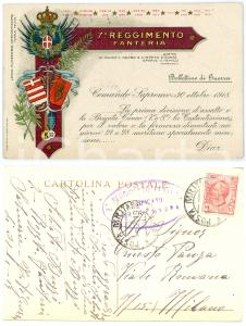 1919 CUNEO - 7° Reggimento Fanteria - Cartolina ILLUSTRATA FP VG