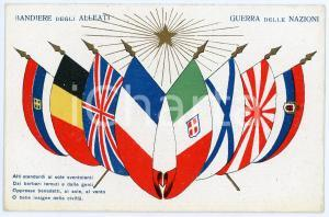 1915 ca WW1 - GUERRA DELLE NAZIONI Bandiere degli alleati - Cartolina FP NV