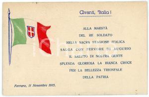 1915 WW1 Stazione di FERRARA Posto di conforto TRICOLORE Cartolina ILLUSTRATA FP
