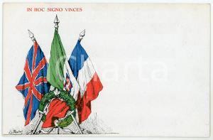 1918 WW1 Bandiere degli alleati - In hoc signo vinces - Cartolina FP NV