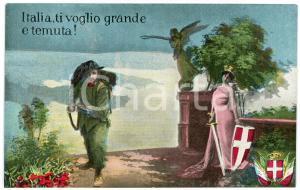 1915 ca WW1 - BERSAGLIERE Italia, ti voglio grande e temuta - Cartolina FP NV
