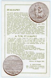 1918 WW1 Comitato d'azione tra mutilati, invalidi e feriti di guerra CARTOLINA