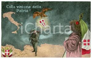 1915 ca WW1 - BERSAGLIERE Colla visione della Patria - Cartolina FP NV