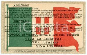 1915 ca WW1 - MILANO Ufficio propaganda - Gli aviatori ai viennesi - Cartolina