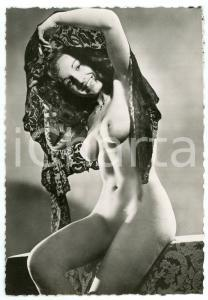 1950 ca VINTAGE EROTIC Nude woman with a lace veil - Photo risque 10x15 cm