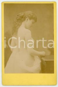 1890 ca VINTAGE EROTIC Nude woman with a veil - RARE Photo 11x16 cm