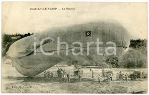 1910 ca MAILLY-LE-CAMP (FRANCE) Ballon captif La Saucisse - Carte postale ANIMEE
