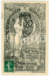 1906 EXPOSITION AMIENS Le Timbre - Carte postale ill. Pierre ANSART ART NOUVEAU