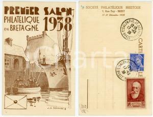 1938 BREST Premier Salon PHILATÉLIQUE DE BRETAGNE Carte postale FP NV