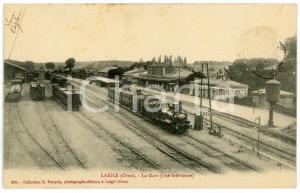 1913 L'AIGLE (Orne, FRANCE) La Gare (vue intérieure) Carte postale ANIMEE train