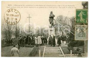 1918 METZ (FRANCE) Homme de Fer renversé par la foule - Carte postale CPA