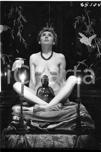 1965 VINTAGE EROTIC Nude woman with Buddha Statue (1) NEGATIVE Raymond VAN DOREN