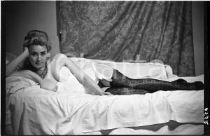 1965 ca VINTAGE EROTIC Reclining woman in lingerie - NEGATIVE Raymond VAN DOREN