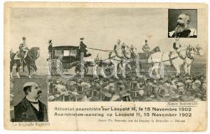 1902 BELGIQUE Attentat anarchiste sur Léopold II - Régicide Rubino RARE Postcard