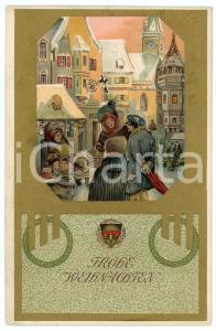1908 GERMANY Frohe Weihnachten - Old Postcard Deutscher Schulverein golden