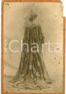1900 ca Soprano Lina CAVALIERI con mantello - Foto RARA DANNEGGIATA 20x32 cm