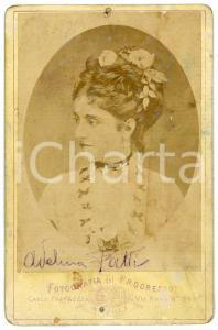 1880 ca Soprano Adelina PATTI - Ritratto - Foto FRATACCI 11x16 cm