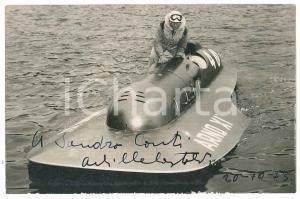 1954 MOTONAUTICA Achille CASTOLDI su FERRARI ARNO XI - Foto con AUTOGRAFO