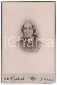 1890 ca MILANO Ritratto di donna con cuffietta - Foto G. B. GANZINI 11x17