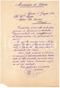 1922 ABANO TERME Invito per inaugurazione monumento ai Caduti