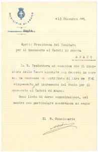 1921 ABANO TERME Commissario Giuseppe MIONI pro monumento Caduti AUTOGRAFO