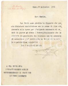 1921 ROMA Lettera Vincenzo GIUFFRIDA Ministro Poste e Telegrafi - AUTOGRAFO