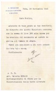 1921 ROMA Lettera Giulio RODINO' Ministro Grazia e Giustizia - AUTOGRAFO