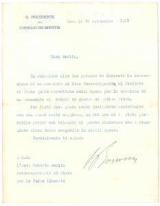 1921 ROMA Lettera Ivanoe BONOMI Presidente del Consiglio - AUTOGRAFO