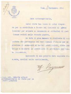 1921 ROMA Lettera Eugenio BERGAMASCO Ministro della Marina - AUTOGRAFO