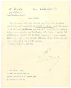1921 ROMA Lettera Alberto BENEDUCE Ministro Lavoro e Previdenza - AUTOGRAFO