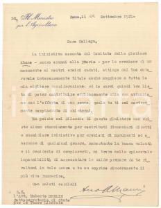 1921 ROMA Angelo MAURI Ministro Agricoltura - Lettera su monumento *AUTOGRAFO