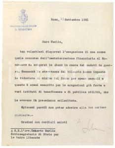 1921 ROMA Lettera Marcello SOLERI Ministro delle Finanze - AUTOGRAFO