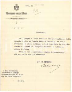 1921 ROMA Lettera Ministero Real Casa - Vittorio DE SANCTIS - AUTOGRAFO