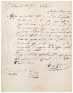 1849 MILANO Lettera Luigi ZAQUINI per ordine di torchiere - Prefilatelica