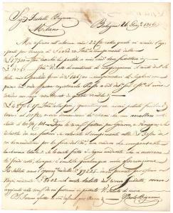 1816 BOLOGNA Lettera Paolo BIGNAMI per saldo commerciale - Prefilatelica