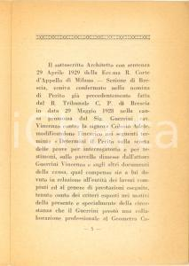 1930 BRESCIA Angelo ALBERTINI Relazione peritale nella causa GUERRINI-COLOSIO