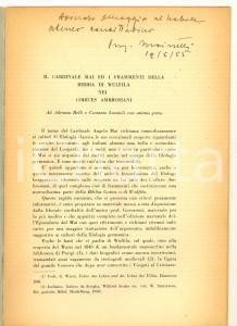 1954 Adolfo MAINETTI Il cardinale Mai e i frammenti della Bibbia -  AUTOGRAFO