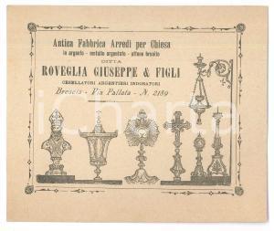 1896 BRESCIA Ditta ROVEGLIA Giuseppe - Arredi per chiesa - Biglietto