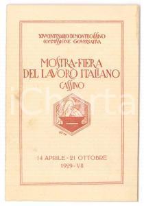 1929 CASSINO Mostra-Fiera del Lavoro Italiano - Biglietto ill. BAZZI