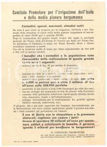 1950 ca BERGAMO Comitato pro Irrigazione Isola e pianura bergamasca - Volantino