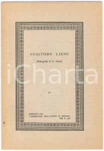 1968 BRESCIA Ornello VALETTI - Gualtiero LANG Bibliografia - 44 pp.