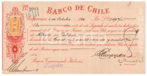 1924 VALPARAISO - Banco de CHILE - Cambiale pubblicitaria