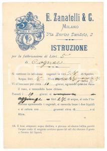 1900 ca MILANO E. ZANATELLI & C. - Istruzione per la fabbricazione di COGNAC