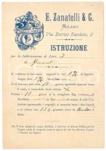 1900 ca MILANO E. ZANATELLI & C. - Istruzione per la fabbricazione di FERNET